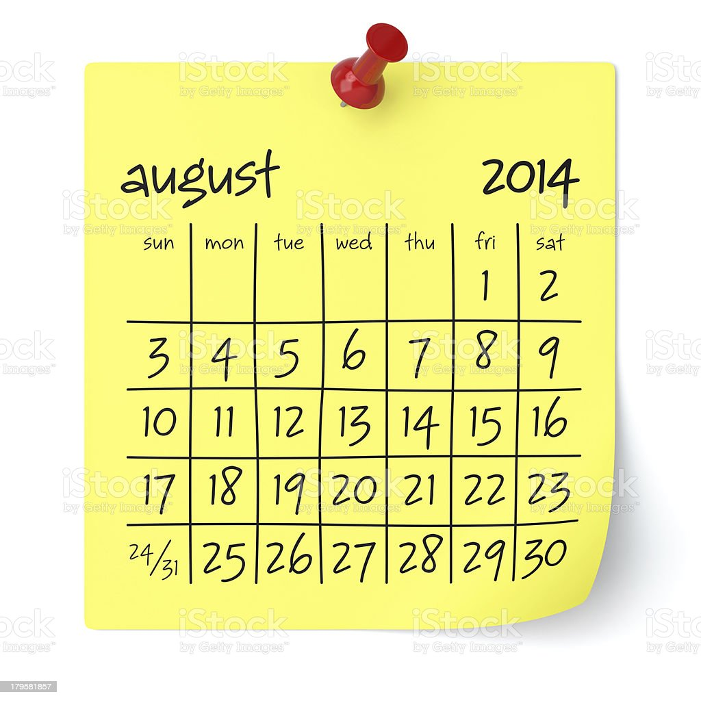 August 2014 - Calendar royalty-free stock photo