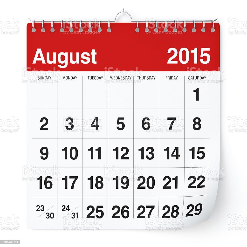 August 2015 - Calendar stock photo