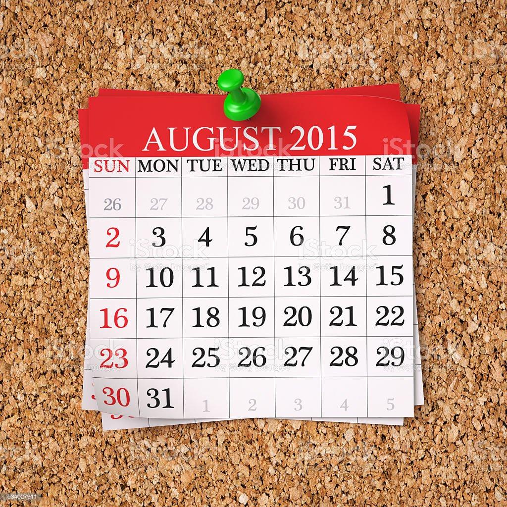 August 2015  Calendar stock photo