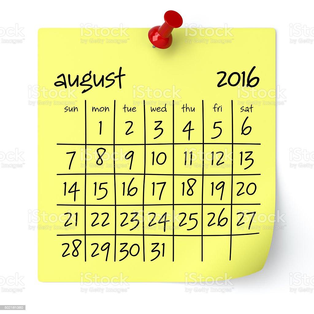 August 2016 - Calendar stock photo