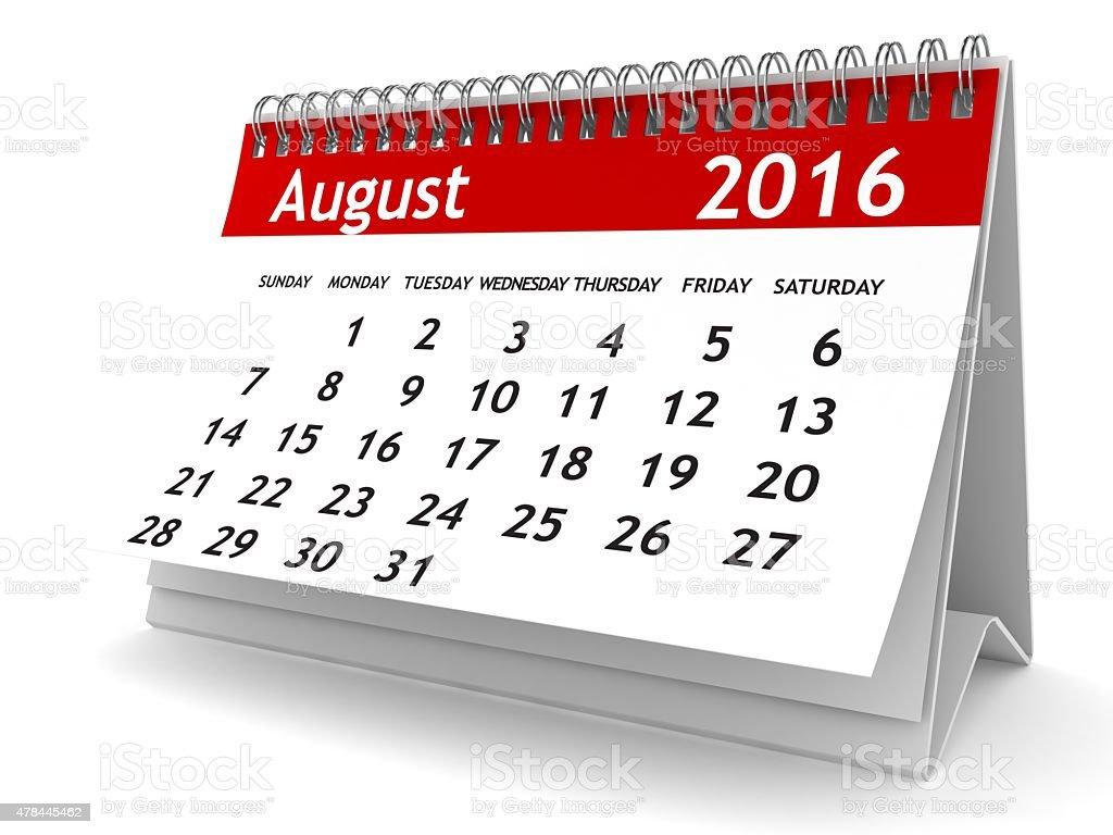 August 2016 - Calendar series stock photo