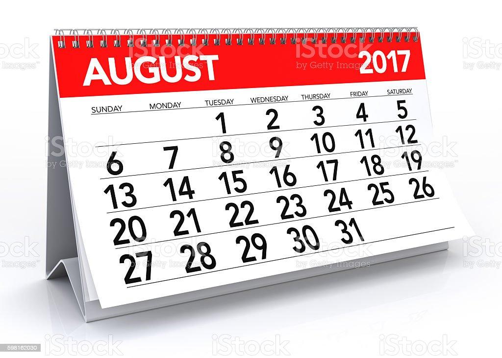 August 2017 Calendar - foto stock