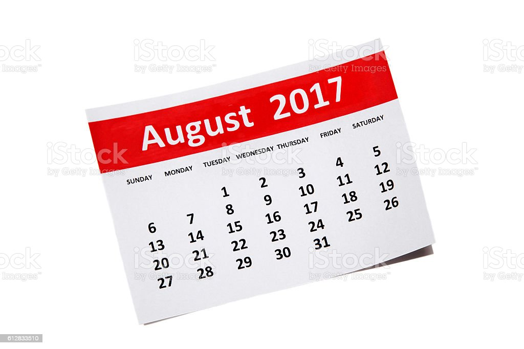 August  2017 Calendar stock photo