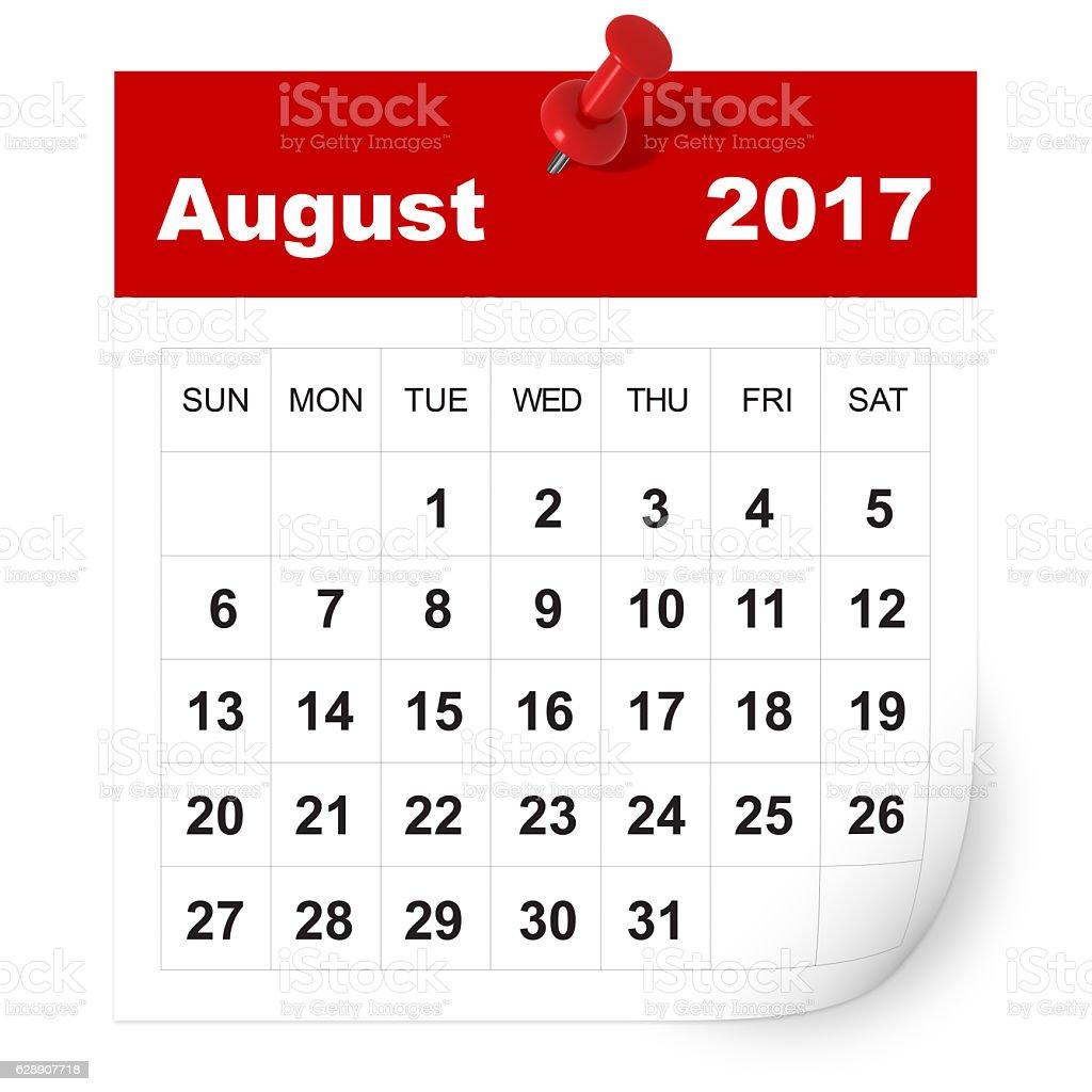 Agosto, 2017 calendari - foto stock