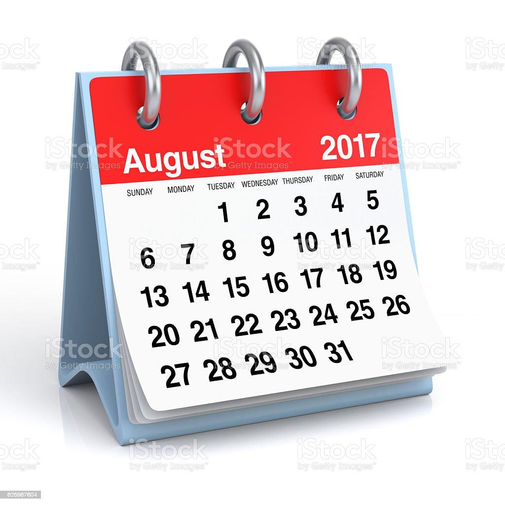 August 2017 - Desktop Spiral Calendar. stock photo