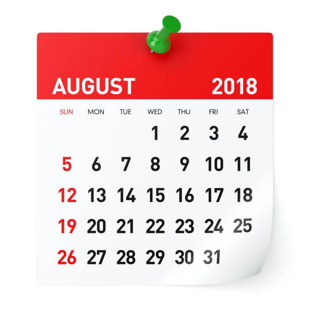 augustus 2018 - kalender - 2018 stockfoto's en -beelden