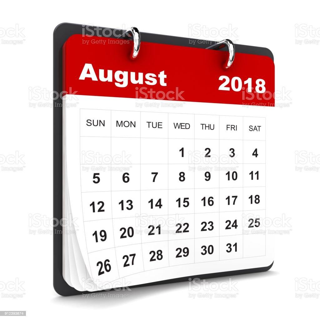 August 2018 calendar stock photo