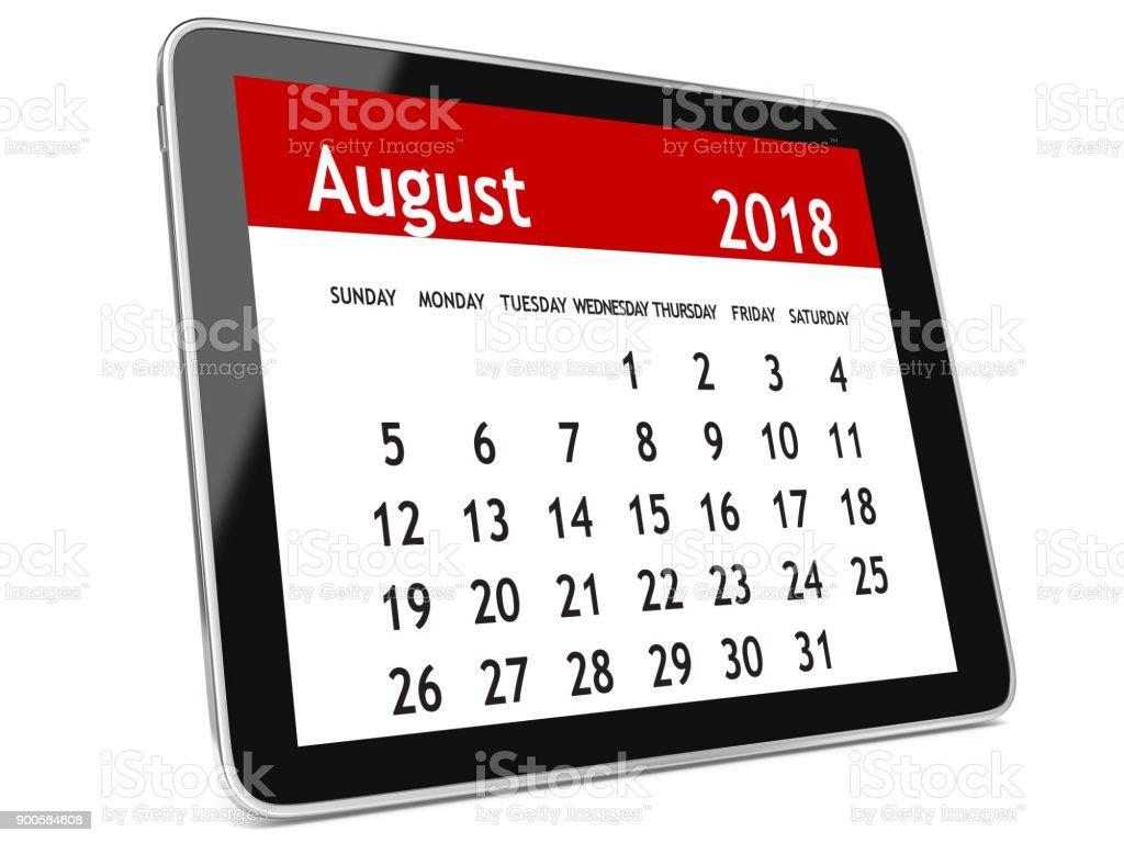 August 2018 calendar tablet computer stock photo