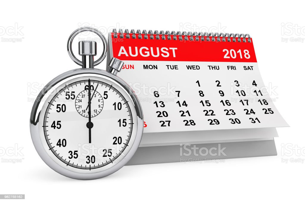 August 2018 calendar with stopwatch. 3d rendering stock photo