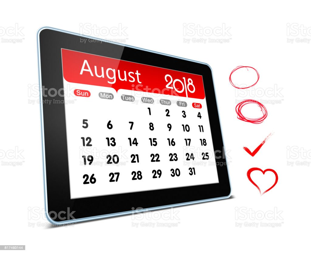 August 2018 Calender on digital tablet isolated stock photo