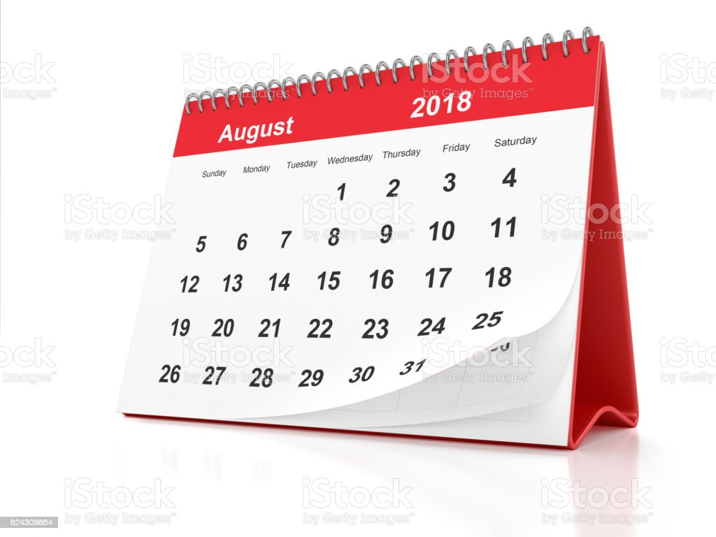 August 2018 Desktop Calendar with Red Plastic on White Background stock photo