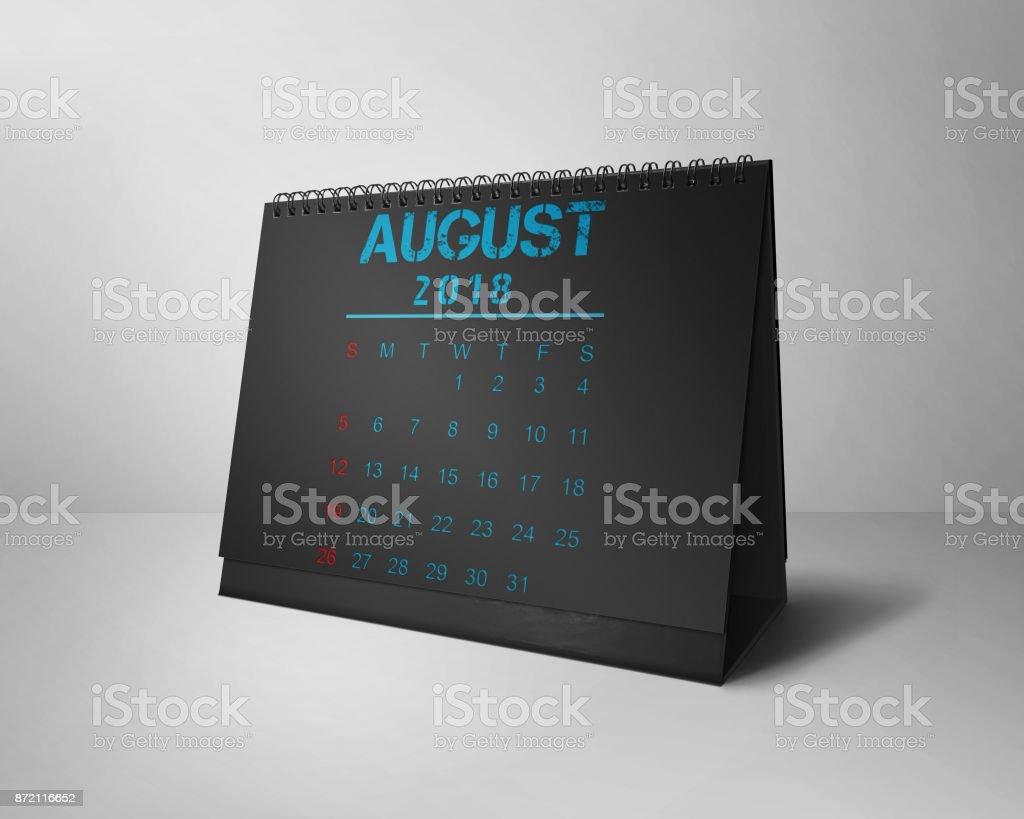 August  2018    Desktop Calendars Design 2018 Black & Blue stock photo
