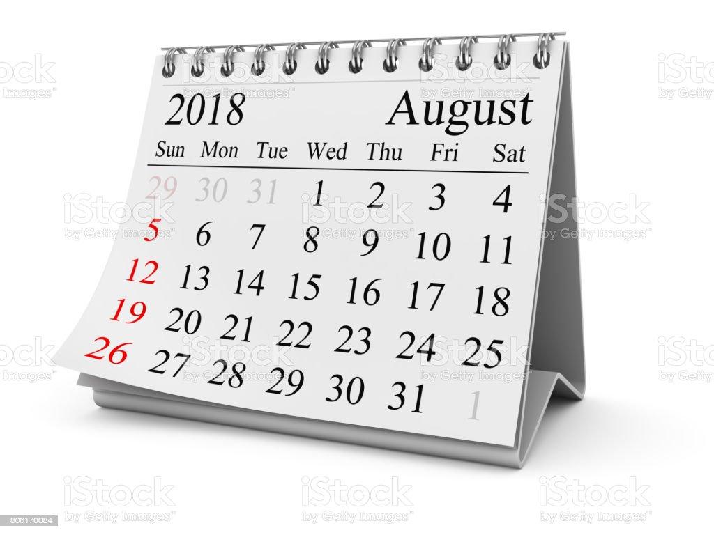 August 2018 stock photo