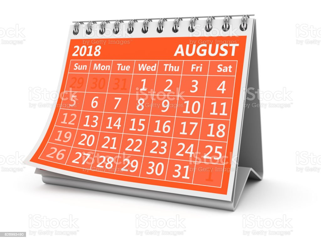 August 2018 - foto stock