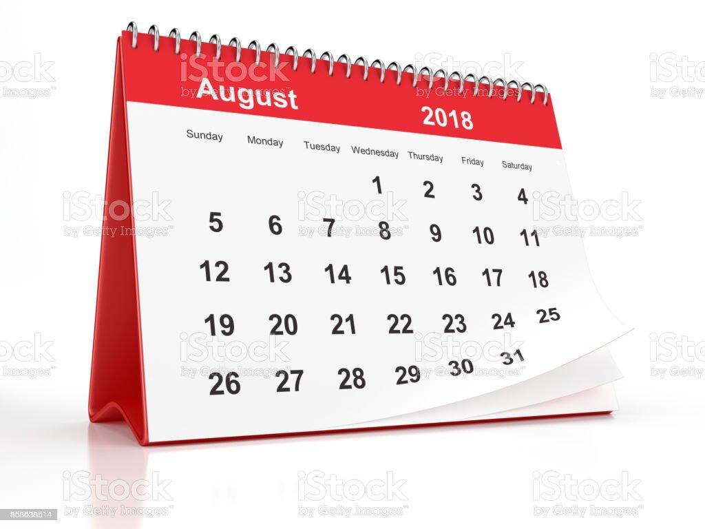 August 2018 Red Plastic Framed Desktop Calendar on White Background stock photo