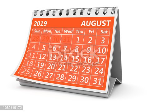 3D image of isolated calendar.