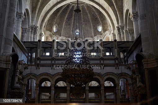 JERUSALEM, ISRAEL August 25 2018: The chapel of St. Helena or the chapel of the Holy cross in the Church of the Holy Sepulchre,Jerusalem, Israel.