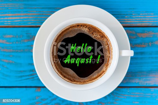 istock August beginning and last summer month end concept written at morning coffee cup. Striked June, July 825204306