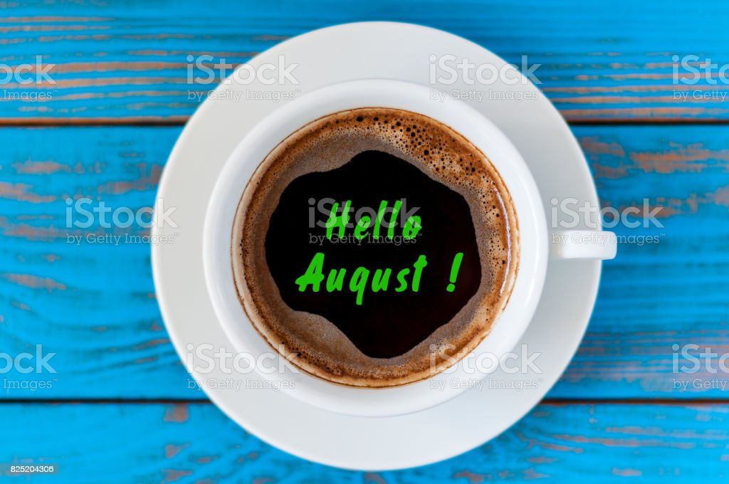 August beginning and last summer month end concept written at morning coffee cup. Striked June, July - foto stock