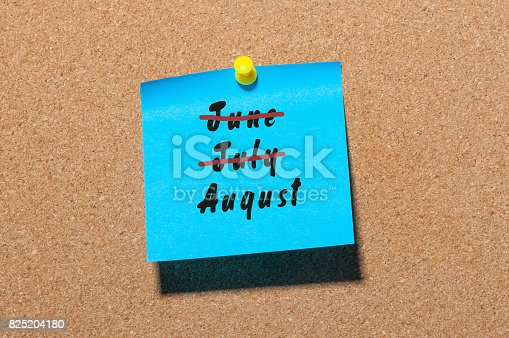 istock August beginning and last summer month end concept written at sticker. Striked June, July 825204180