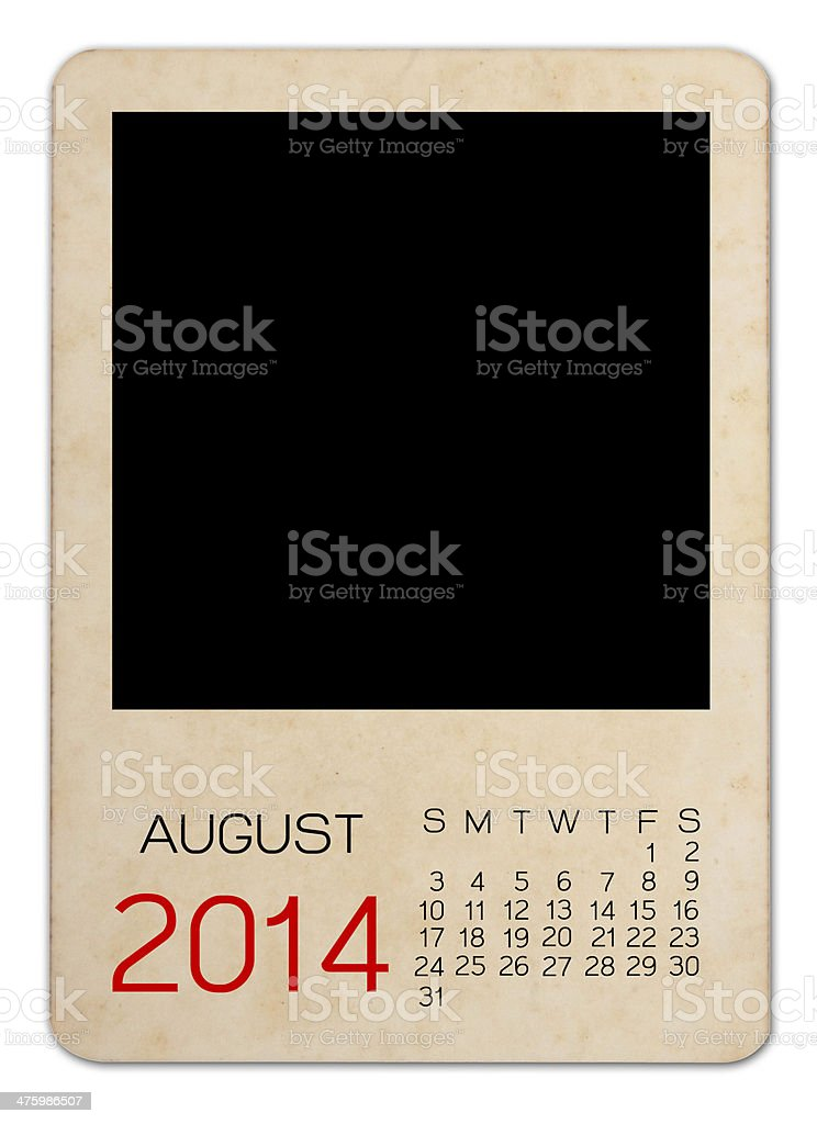 August Calendar 2014 on the Empty old photo royalty-free stock photo
