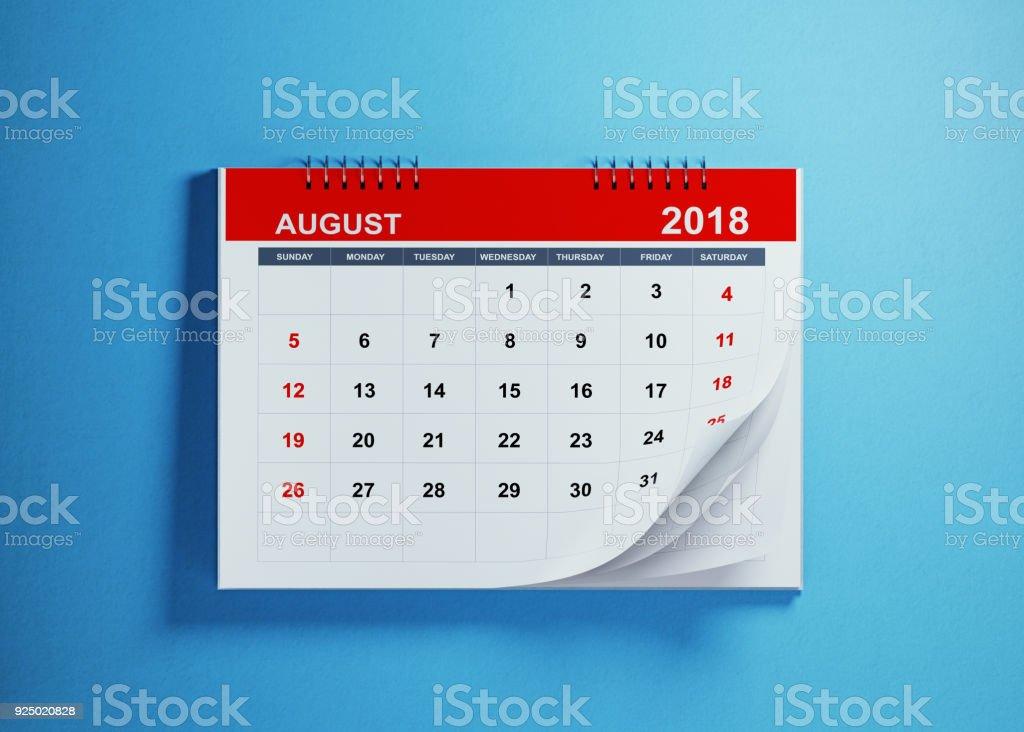 August Calendar On Blue Background stock photo