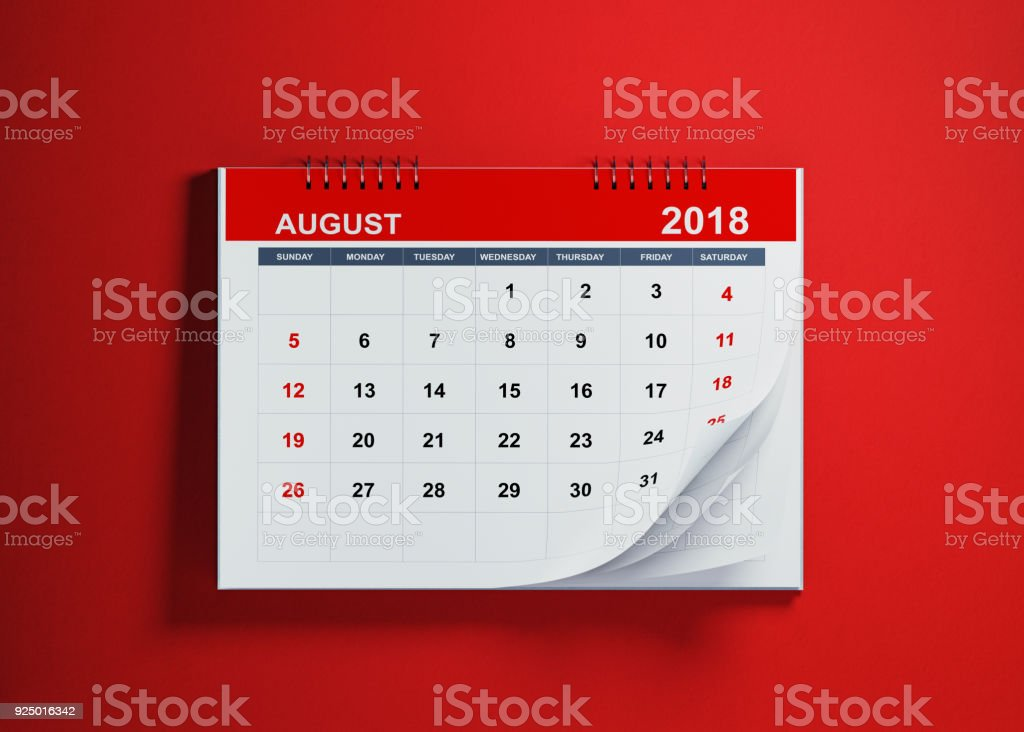 August Calendar On Red Background stock photo