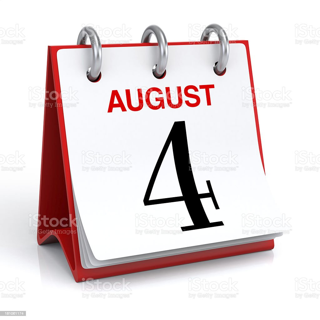 August Calendar royalty-free stock photo
