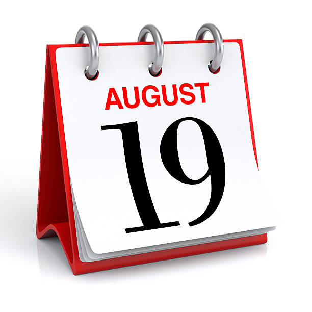 august calendar - number 19 stock photos and pictures