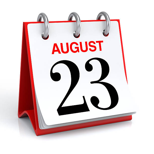 august calendar - number 23 stock photos and pictures