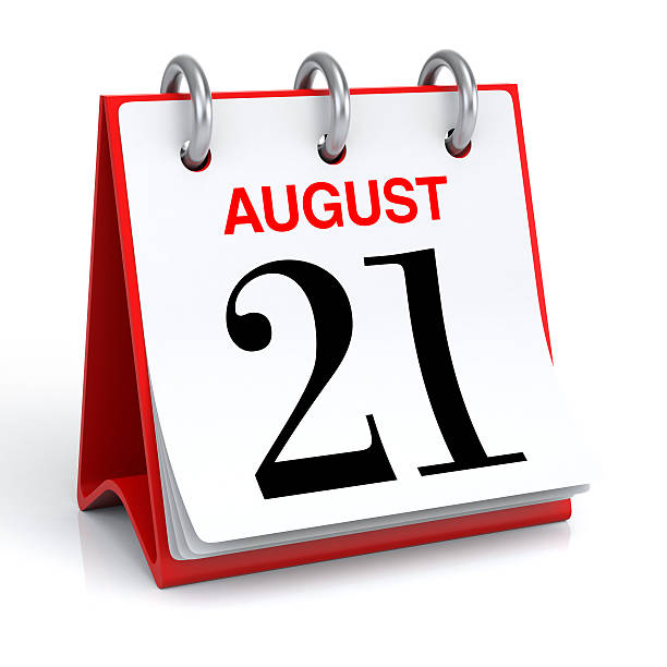 august calendar - number 21 stock photos and pictures