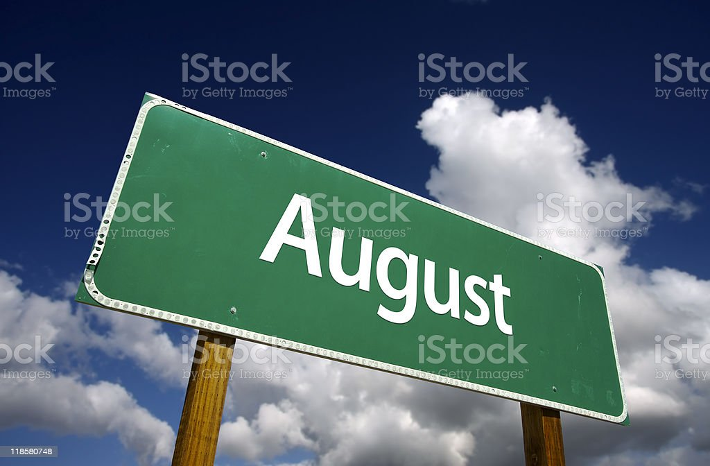 August Green Road Sign royalty-free stock photo