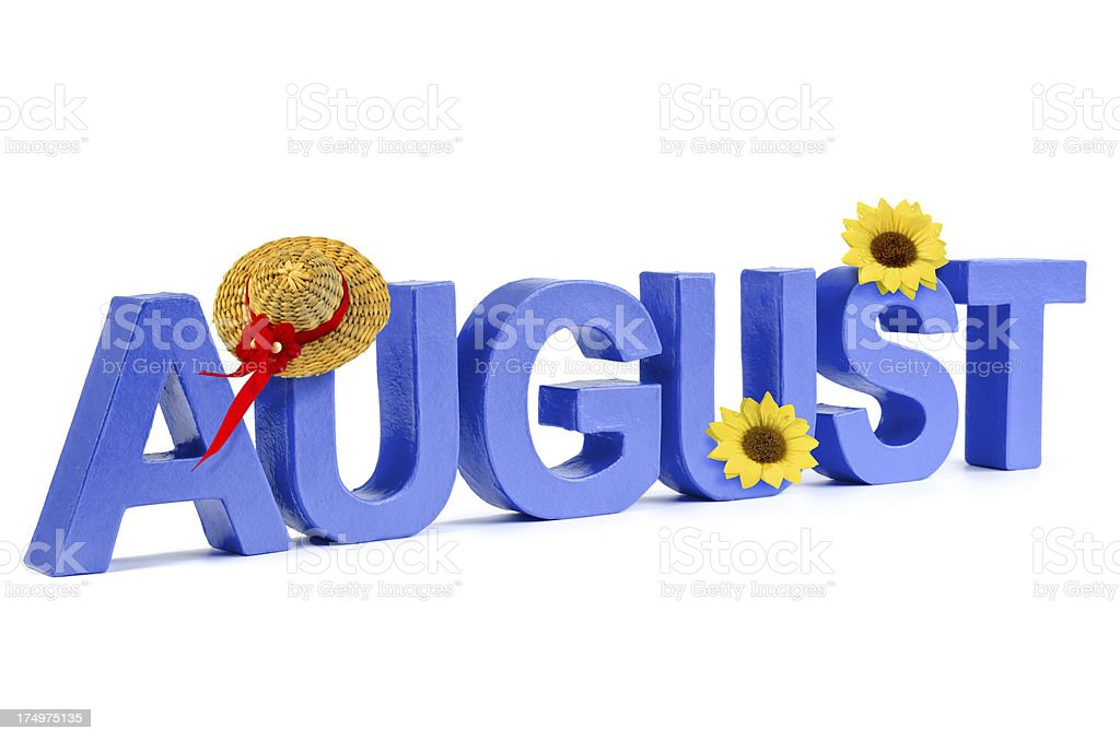 August in blue letters royalty-free stock photo