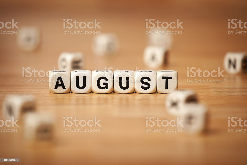August Spelled In Letter Cubes royalty-free stock photo