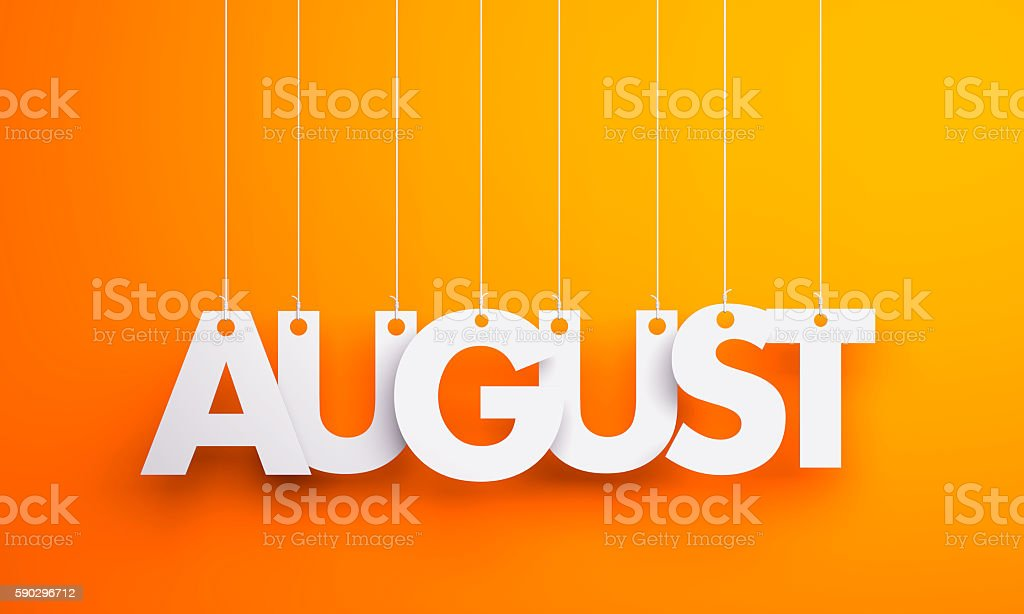August - text hanging on the strings. 3d illustration royaltyfri bildbanksbilder