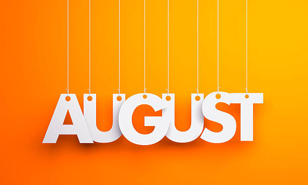 August - text hanging on the strings. 3d illustration – Foto