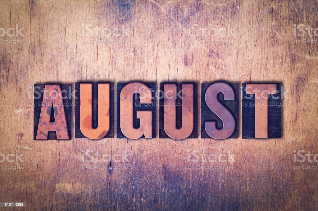 August Theme Letterpress Word on Wood Background - foto stock