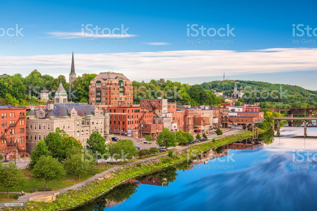 Augusta, Maine, USA Skyline stock photo