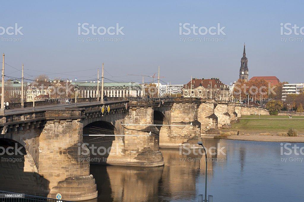 Augustus Bridge in Dresden royalty-free stock photo