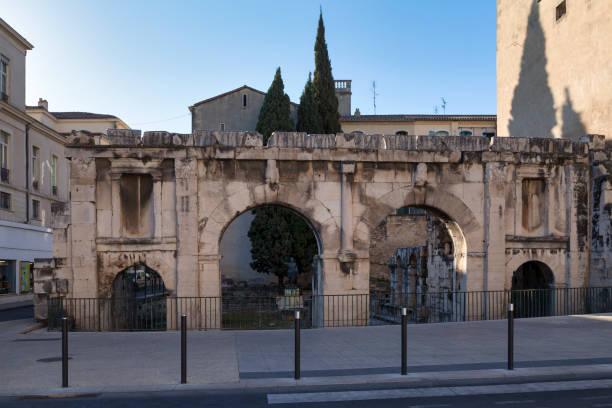 Augustus Gate in Nimes stock photo