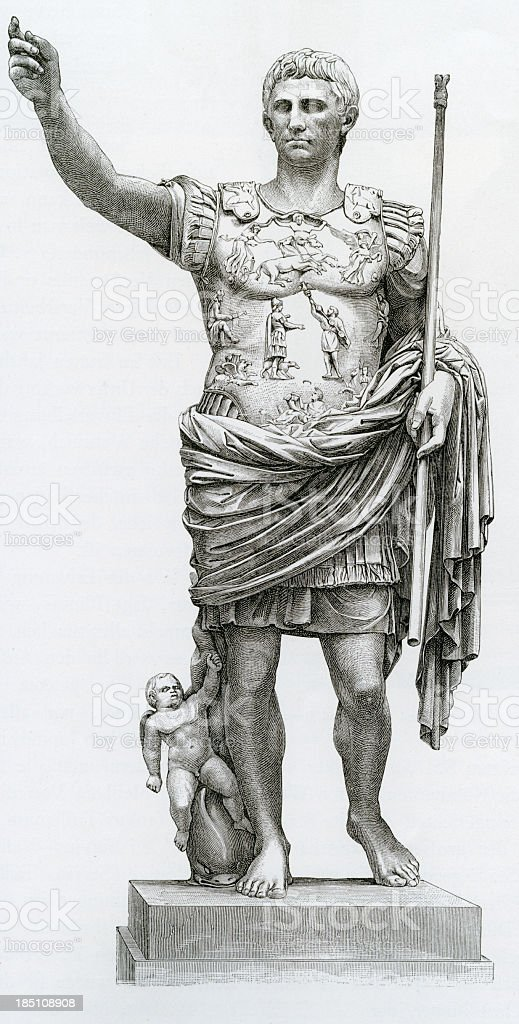 Augustus, Roman Emperor, antique print, 1884 stock photo
