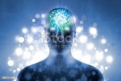 istock Aura of energy: human head and body with glowing light 465707008