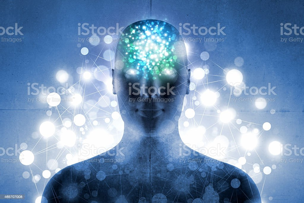Aura of energy: human head and body with glowing light stock photo