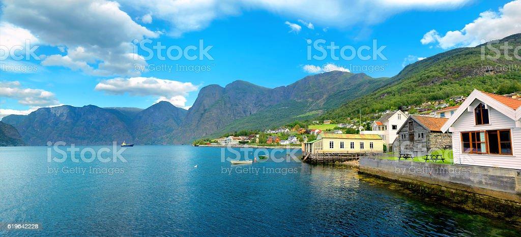 Aurland village. Aurlandsfjord,  Norway stock photo