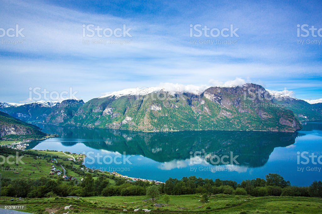 Aurlandsfjord in Sognefjord stock photo