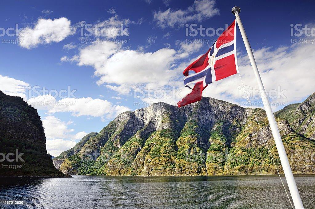 Fiorde de Aurlands, Noruega - fotografia de stock