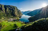 Aurlandsfjord Town Of Flam at dawn. Beautiful Nature Norway natural landscape.