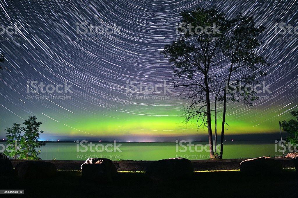 Aurora and Star Trails stock photo