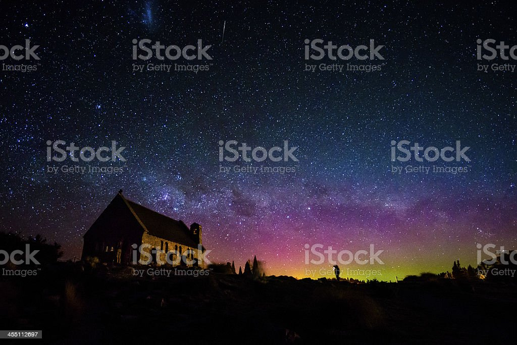Aurora Australis and Milky way, Church of the Good Shepherd stock photo