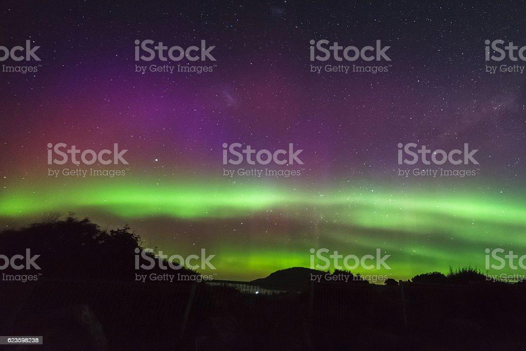 Aurora Australis beams at South Arm Tasmania stock photo